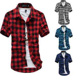 Short Sleeve Plaid Button-Down Rugby Shirts