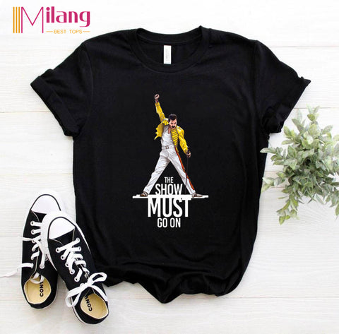 Women Freddie Mercury Black T-shirts