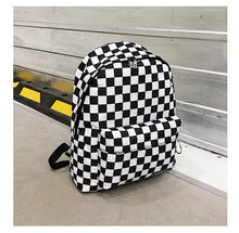Load image into Gallery viewer, Unisex Plaid Nylon Female Travel Laptop Backpack