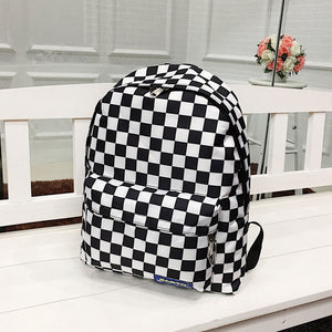 Unisex Plaid Nylon Female Travel Laptop Backpack