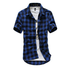 Load image into Gallery viewer, Short Sleeve Plaid Button-Down Rugby Shirts