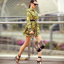 Load image into Gallery viewer, Elegant Printed Shirt Dress