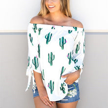 Load image into Gallery viewer, Cactus Print Three Quarter Sleeve T-shirt