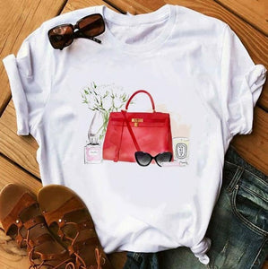 Women Fashion Graphic Flower T-Shirt