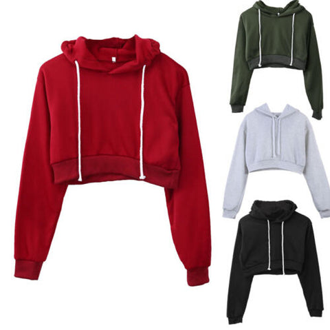 Women Plain Hoodies Crop Top