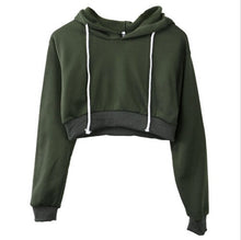 Load image into Gallery viewer, Women Plain Hoodies Crop Top
