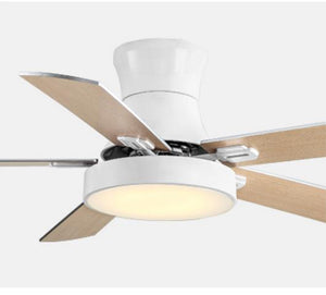 Nordic Creative Ceiling Ceiling Fans 5 Blad Solid Wood Fan Ceiling Fans Lamps With Lights For Living Room home LED dimming light