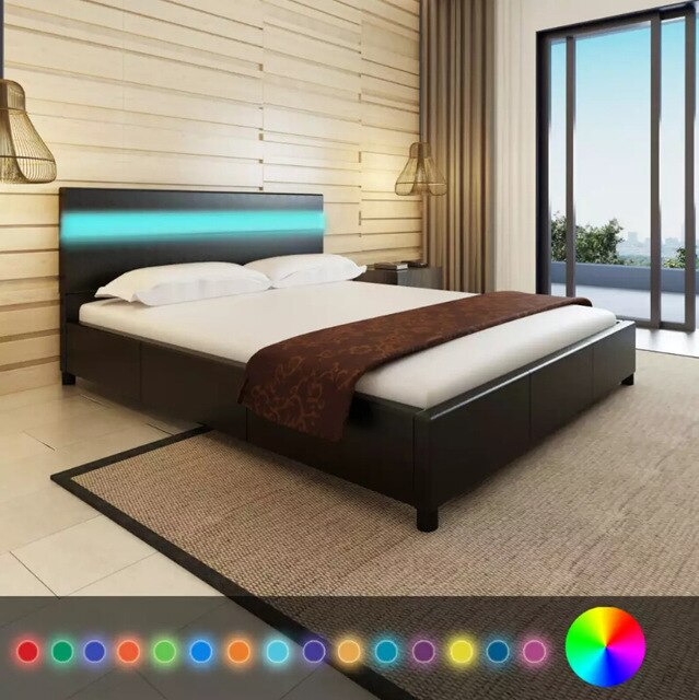 Black Artificial Leather Bed With LED Headboard