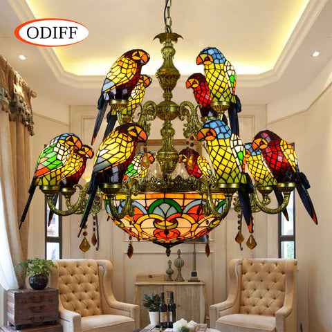 European Luxurious Parrot Double deck pendant lamp Stained glass12 bird villa Restaurant Bar club Living room crystal Arab lamp