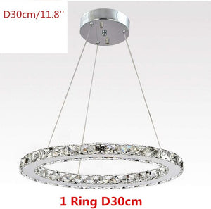 Crystal Led Pendant Lights 3 Rings Mirror Stainless Steel Lusters Hanging Lamp for Bedroom Home Lighting Fixtures Luminaria