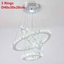 Load image into Gallery viewer, Crystal Led Pendant Lights 3 Rings Mirror Stainless Steel Lusters Hanging Lamp for Bedroom Home Lighting Fixtures Luminaria