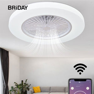 bluetooth white smart modern led ceiling fan lamps with lights app remote control ventilator lamp Silent Motor bedroom decor