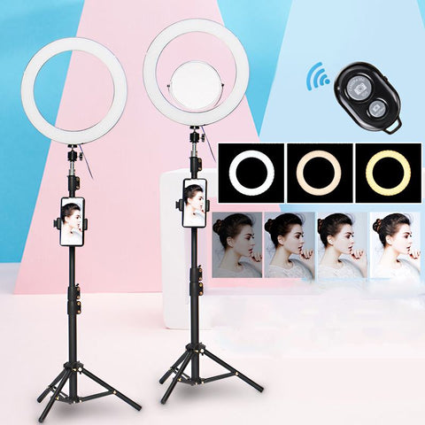 12.6inch/32cm Ring Light 3 Mode Adjustable LED Selfie Ring Light with 140cm Tripod Stand Phone Holder Makeup Mirror