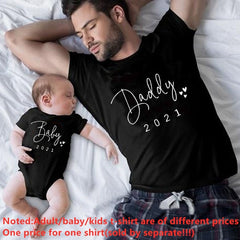 Funny Baby Daddy 2021 Family Matching Clothing Simple Pregnancy Announcement Family Look T Shirt Baby Dad Matching Clothes