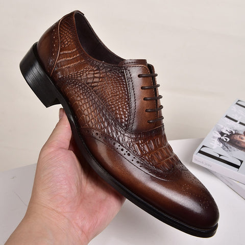 NewVintage Fashion Men Shoes Formal Dress Casual Leather Shoes Business Wedding Loafers Designer Brogue Office Shoes9