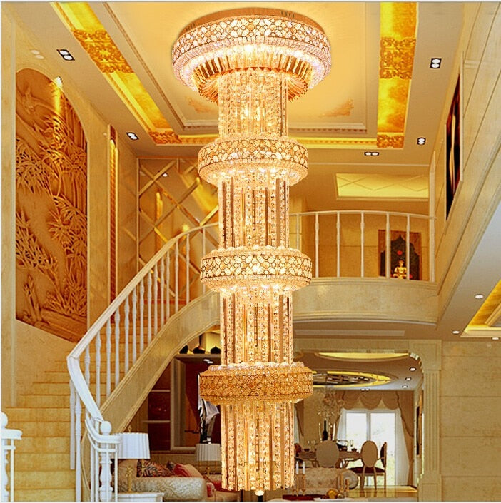 Modern Golden Color D600mm H2000mm LED  Big Luxury Crystal Chandelier K9Crystal For Hotel Lobby Double Floor Crystal E14*30 Lamp
