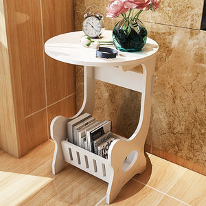 Round side table with magazine rack