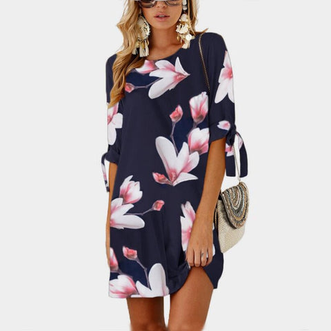 Half Sleeve Flower Print Dress