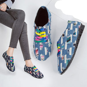 Low-Heeled Denim Cloth Lace-Up Shoes