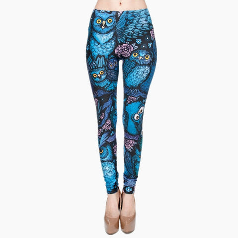 Night Owl Full Printing Skinny Leggings