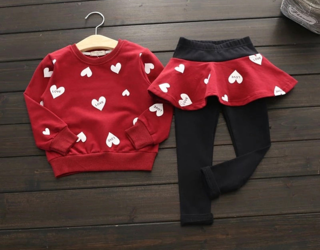Heart Printed Set ~ Red