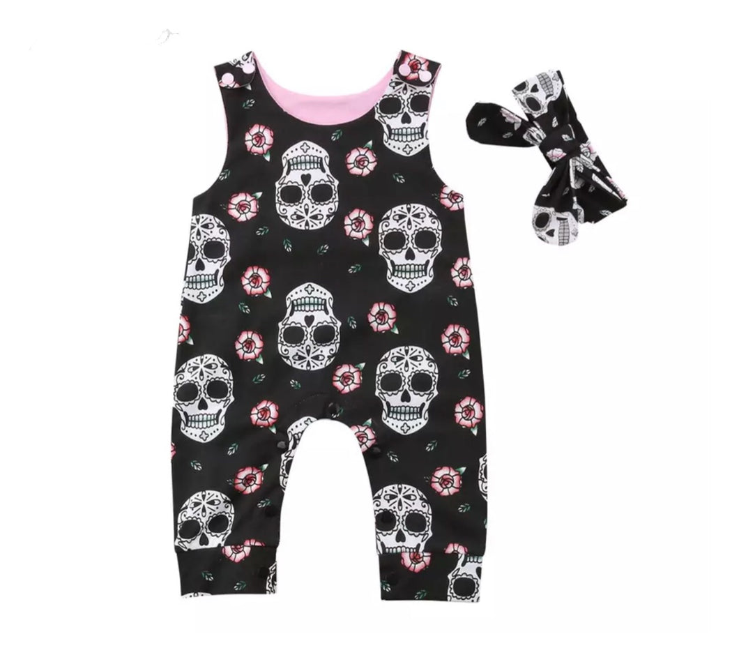 Skull Romper with Matching Headband
