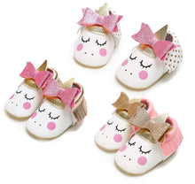 Load image into Gallery viewer, Unicorn Moccs with Bow