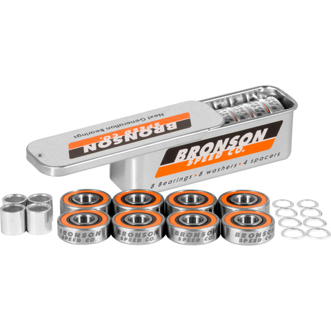 Bronson G3 Bearings Single Set Tin with Spacers+Washers  | Universo Extremo Boards Skate & Surf