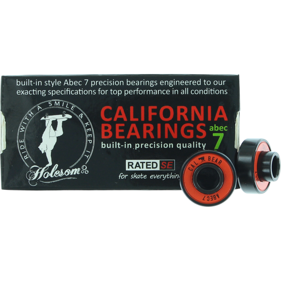 Holesom Californa Abec-7 Bearings Red/Black Single Set   | Universo Extremo Boards Skate & Surf