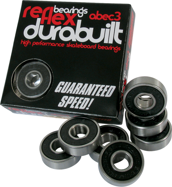 Skateboard Bearings Reflex Abec-3 Durabuilt Black - Single Set|Universo Extremo Boards