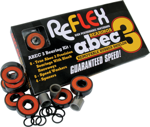 Skateboard Bearings Reflex Abec-3 Orange Shield - Single Set|Universo Extremo Boards