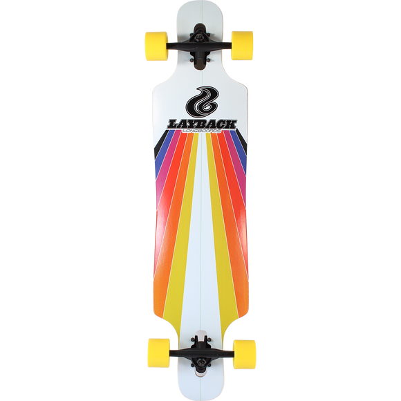 Layback Sunstripe Drop Through Complete Longboard Skateboard -9.75x40 White
