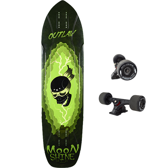 Moonshine-Mfg Outlaw 2019 Complete Longboard Skateboard -9.75x38.25 White/Green