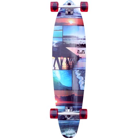 Punked Kicktail Complete Longboard Skateboard -10x40 Seaside