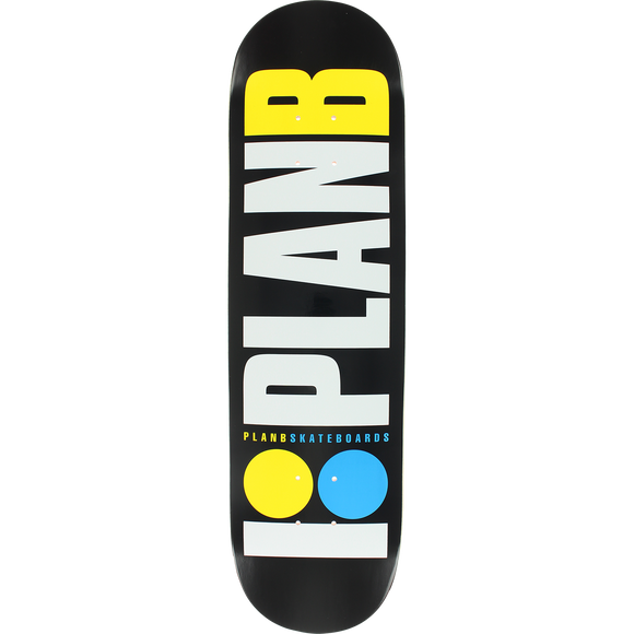 Plan B Og Neon Skateboard Deck -8.0 Black/White/Yellow/Blue