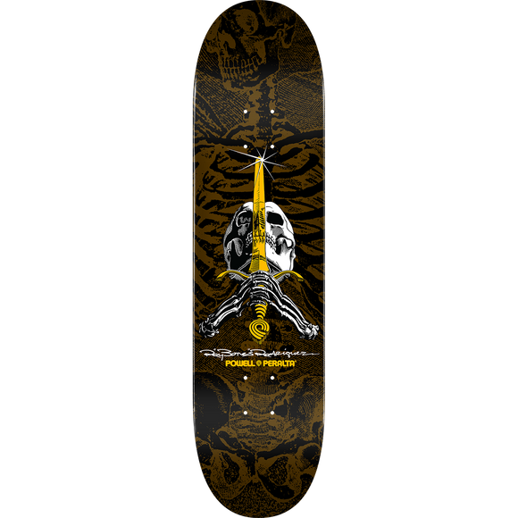 Powell Peralta Paul Rodriguez Skull & Sword Skateboard Deck -9.05 Brown/Black/Gold