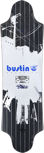 Bustin Eq River Black/White LONGBOARD DECK -10x36.5/29.5wb | Universo Extremo Boards Skate & Surf