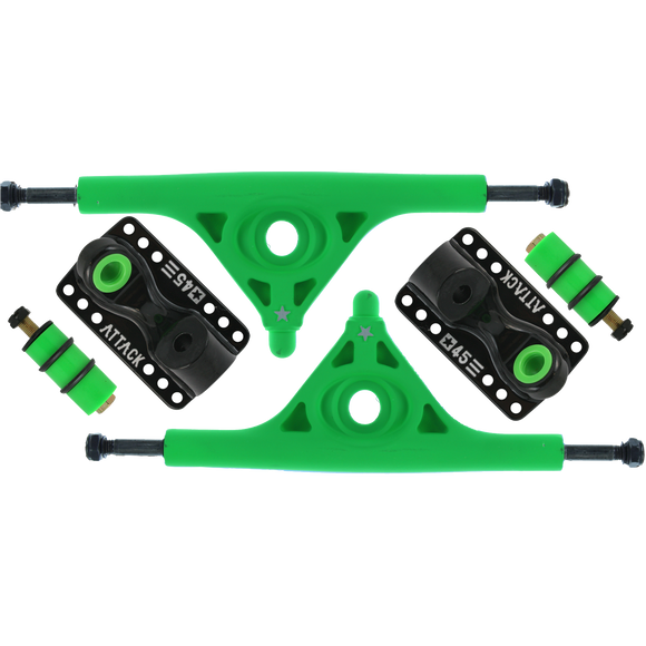 Attack Longboard Trucks Black Star Rkp 180mm/45deg Green/Black (Set of 2) |Universo Extremo Boards Skate & Surf