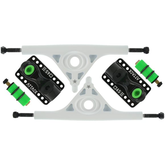 Attack Longboard Trucks Black Star Rkp 180mm/45deg White/Black (Set of 2) |Universo Extremo Boards Skate & Surf