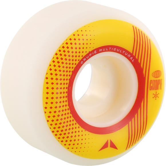 Crupie CRB 52mm White W/Yellow/Red Skateboard Wheels (Set of 4)