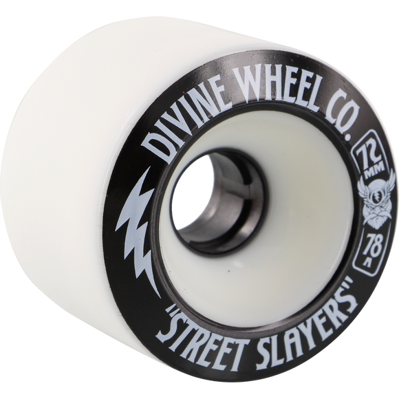 Divine Street Slayers 2015 72mm 78a White Opaque Skateboard Wheels (Set of 4)