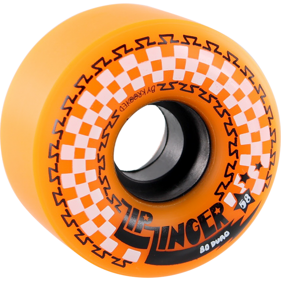 Krooked Zip Zinger 58mm 80a Orange/White/Black Skateboard Wheels (Set of 4)