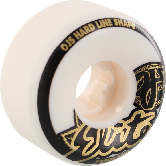 OJ Wheels Elite Hardline 55mm 99a White/Gold/Black Skateboard Wheels (Set of 4)
