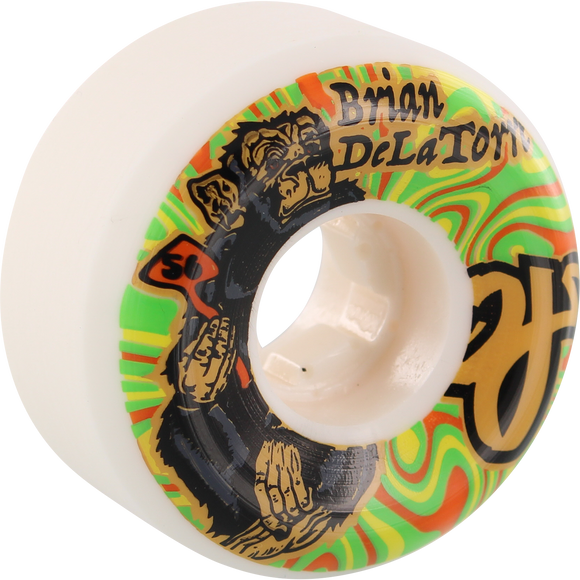OJ Wheels Delatorre Trip 56mm 101a White Skateboard Wheels (Set of 4)