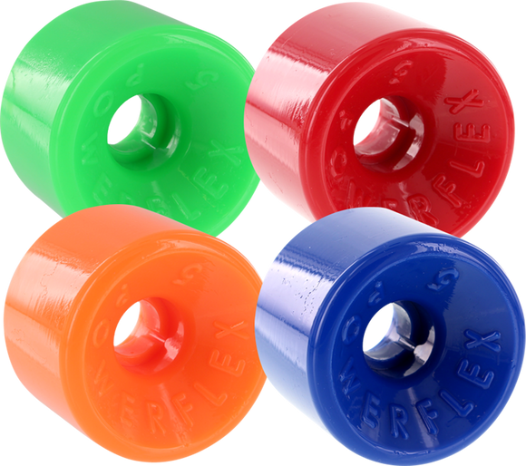 Powerflex 5 63mm 88a Assorted#2 Green/Red/Orange/Blue Longboard Wheels (Set of 4) | Universo Extremo Boards Skate & Surf