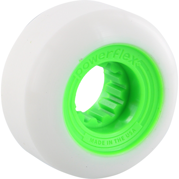 Powerflex Gumball 58mm 83b White/Lime Skateboard Wheels (Set of 4)