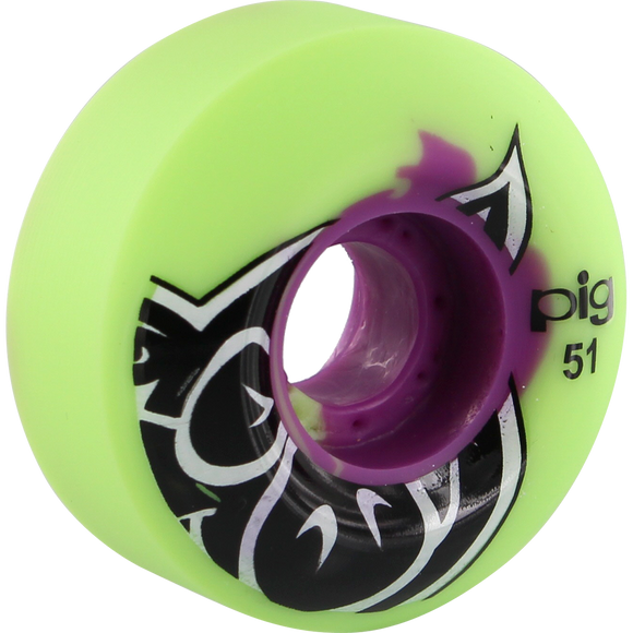 Pig Head Swirl 51mm Purple/Green Skateboard Wheels (Set of 4) | Universo Extremo Boards Skate & Surf