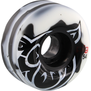 Pig Head Swirl 54mm White/Black Skateboard Wheels (Set of 4) | Universo Extremo Boards Skate & Surf