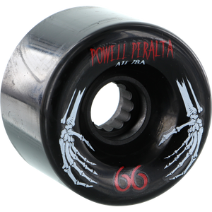 Powell Peralta ATF 66mm 78a Black Skeleton Hands Longboard Wheels (Set of 4) | Universo Extremo Boards Skate & Surf