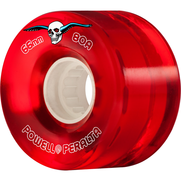 Powell Peralta Clear Cruiser 66mm 80a Red Longboard Wheels (Set of 4)